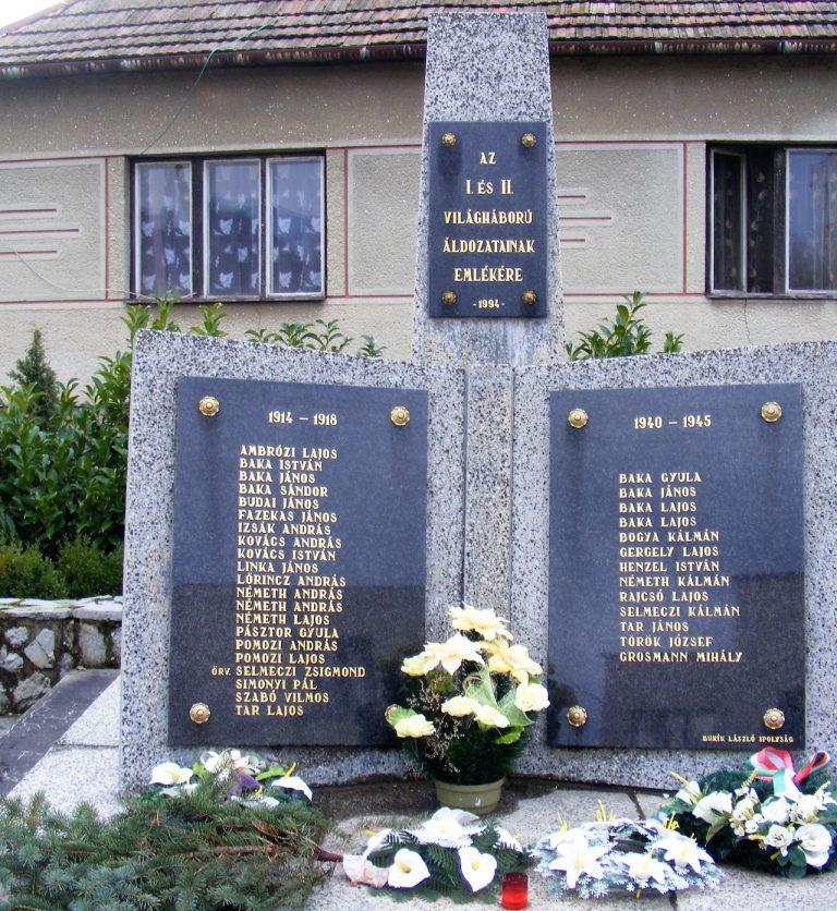 Az I. és II. világháborúban elesett hőseink emlékére