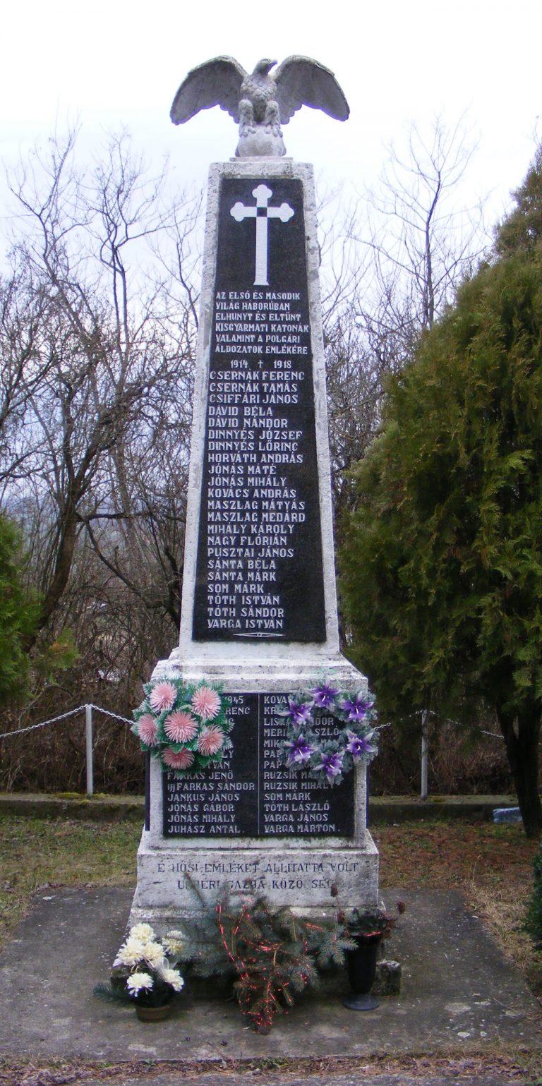 Az I. és II. világháborúban elesettek, valamint a civil áldozatok emlékére